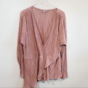 ASOS asymmetrical hem long sleeve blouse pink